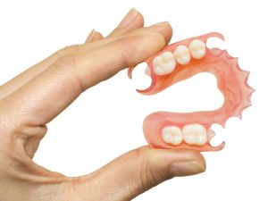 Flexible, partial denture